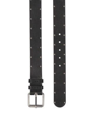 HITCH: Cintura uomo in pelle nera con borchie