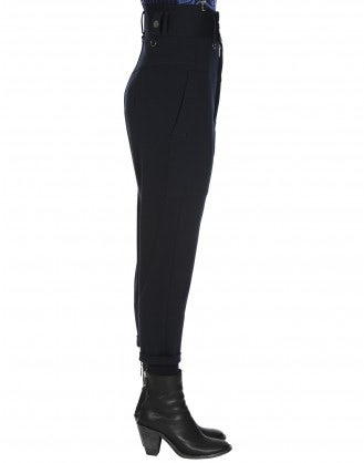 PERSUADE: High waisted cropped pants in navy jersey