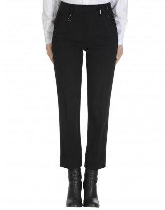 FIDGET: Pantaloni in jersey nero a gamba dritta