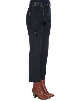 FIDGET: Pantaloni in jersey blu navy a gamba dritta