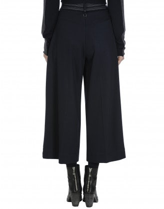 FREEWAY: Pantaloni ampi in jersey blu navy