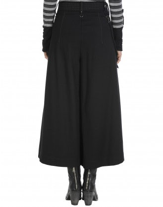 GAFFER: Wide leg culottes in black jersey