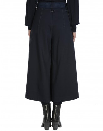 GAFFER: Wide leg culottes in navy jersey