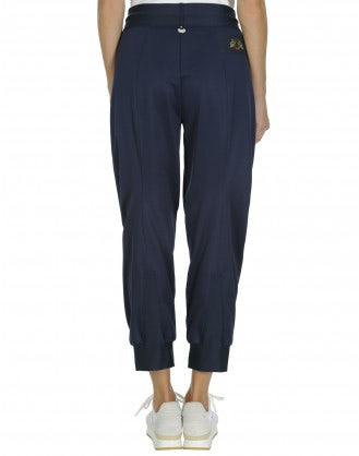 COLLUDE: Blue jersey track pant