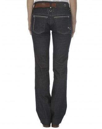 CARNABY: Raw denim kick flare jeans