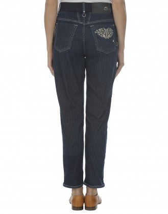 "HIGH-SERGY: Jeans gessati in denim ""ticking stripe"""