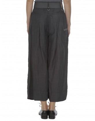 NAVAGAR: Culottes grigie in lino e cupro