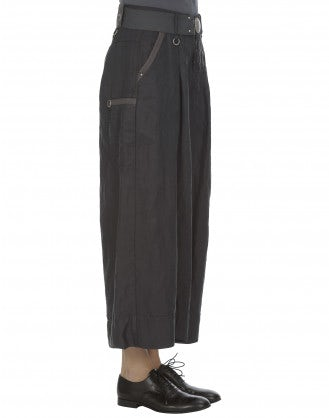 NAVAGAR: Grey linen-cupro culottes