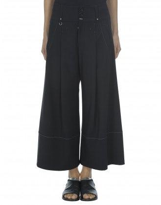 JOLLY: Culottes sartoriali blu in lana