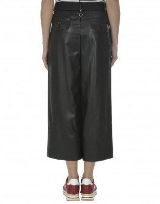 BRIG: Black eco leather cropped culottes