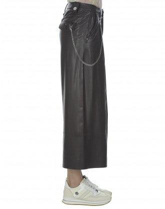 BRIG: Dark burgundy eco leather cropped culottes