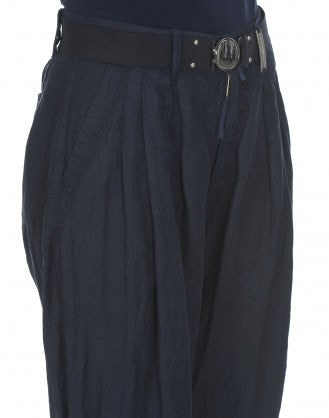 LANCER: Blue cupro pleated pants