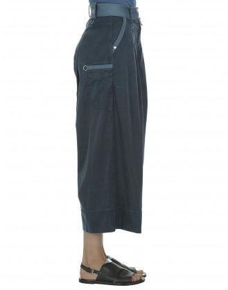 NAVAGAR: Petrol blue silk-wash effect culottes