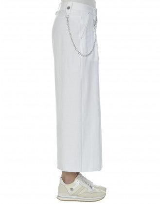 CLOSURE: White 3/4 jersey wide leg pants