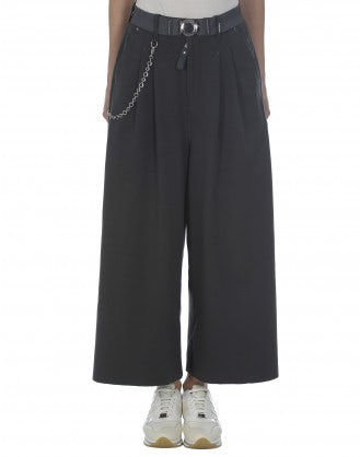 CLOSURE: Culottes in jersey grigio scuro a 3/4