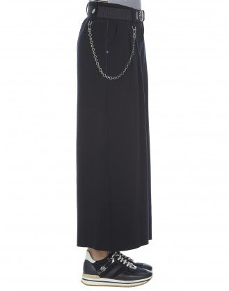 CLOSURE: Culottes in jersey blu navy a 3/4