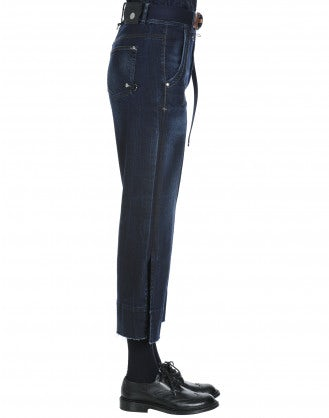 QUALIFY: Jeans in denim blu navy con aperture laterali