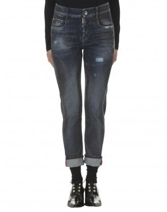 "OUR-GIRLS: Jeans aderenti con trattamento ""leather stain"""