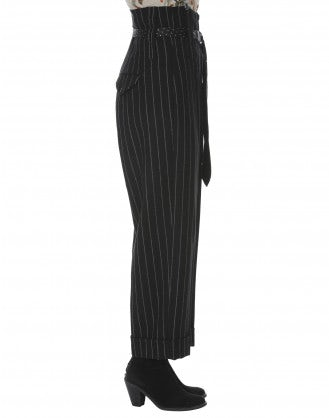 KELLY: Black wool high waisted suspender pants