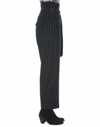 KELLY: Pantaloni blu a vita alta in lana con bretelle