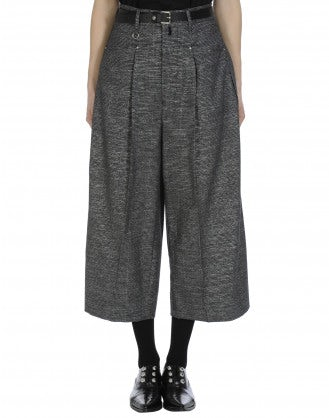 PARADE: Wide leg cropped pant in black check with metallic