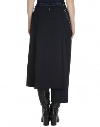 CONCEIT: Asymmetric pant in navy wool with stretch