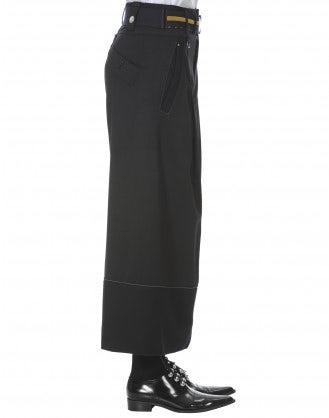 SHIPMAN: Pantaloni neri in gabardina di lana