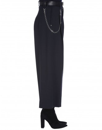 HEYDAY: Wide leg cropped pants in navy twill