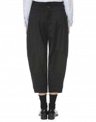 BRIGAND: Pantaloni alla caviglia in lana nera