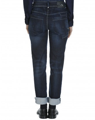 "KICK-OFF: Jeans aderenti in denim scuro ""shadow wash"""