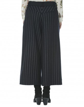 BELLBOY: Wide leg navy wool culottes