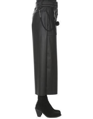 FREEWAY: Pantaloni effetto pelle neri alla caviglia a campana