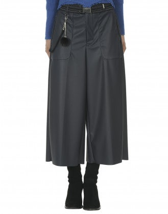 FREEWAY: Blue leather-effect cropped jersey flares