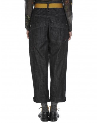 WANDER: Pantaloni in denim grigio a vita alta