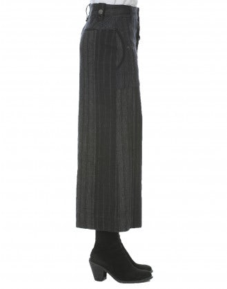 BELLBOY: Multi stripe cropped wide leg pants