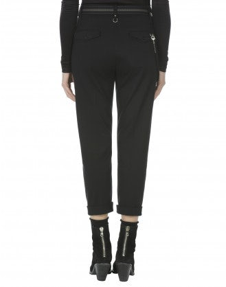 SCUDDER: Black jersey cropped turn-up pants
