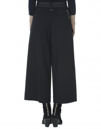 FREEWAY: Navy jersey knit cropped flares
