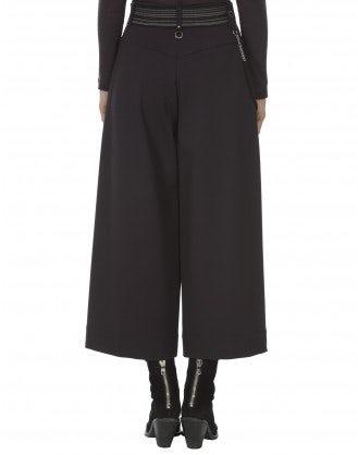 FREEWAY: Pantaloni alla caviglia a campana in maglia jersey borgogna