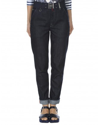 MARYLIN: Dark clean rinse relaxed jeans