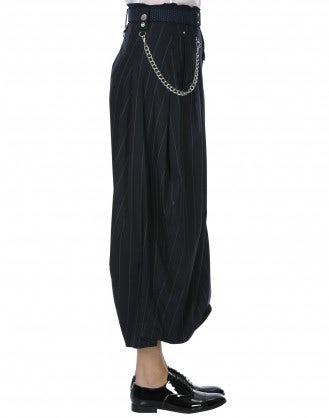 HOOCH: Pantaloni ampi gessati blu navy con forma curva