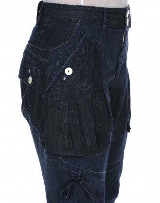 CAPER: Pantaloni indaco con righe e fiori