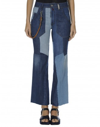 RESPONSE: Flared patchwork jeans