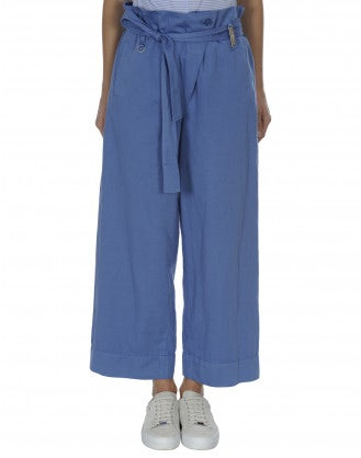 IN DEPTH: Pantaloni ampi con cintura annodabile color blu cielo