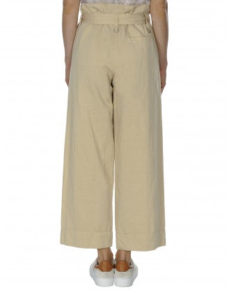 IN DEPTH: Pantaloni ampi con cintura annodabile color beige