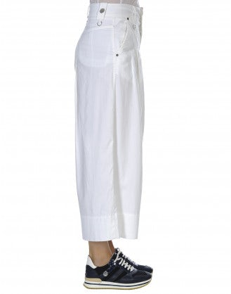 POETRY: Wide single pleat pant in white