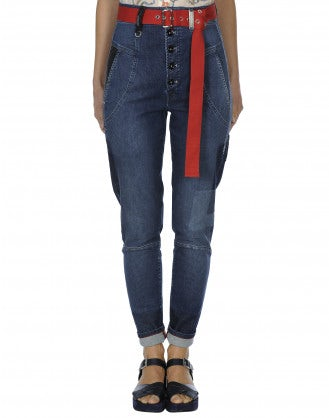 INDIE: Blue shadow and stripe high-rise jeans