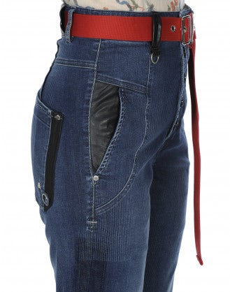 INDIE: Jeans a vita alta con righe e tonalità irregolare