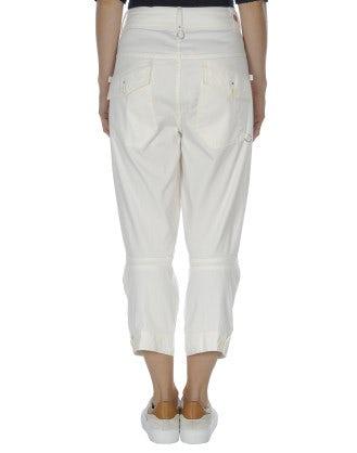 PLUCKY: Pantaloni color crema con orlo abbottonato