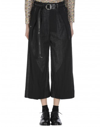 TANGRAM: Pantaloni in denim nero stretch e lana