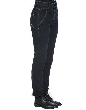 """VERVE: Black """"clean rinse"""" denim cotton pants"""
